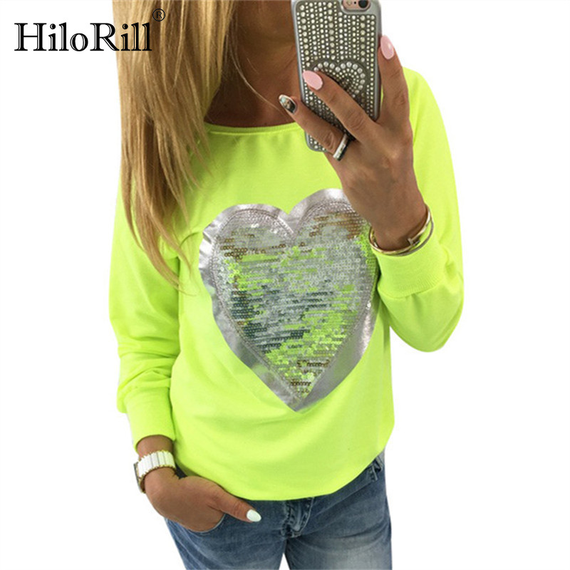 2019 Autumn Women Sequined Heart Pullovers O-neck Long Sleeve Sweatshirts Lady Tracksuits Casual Tops Jumper Sudaderas Mujer