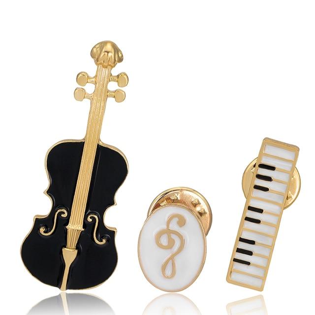 Enamel Vintage Alloy Drip Brooch Violin Music Symbol Keyboard