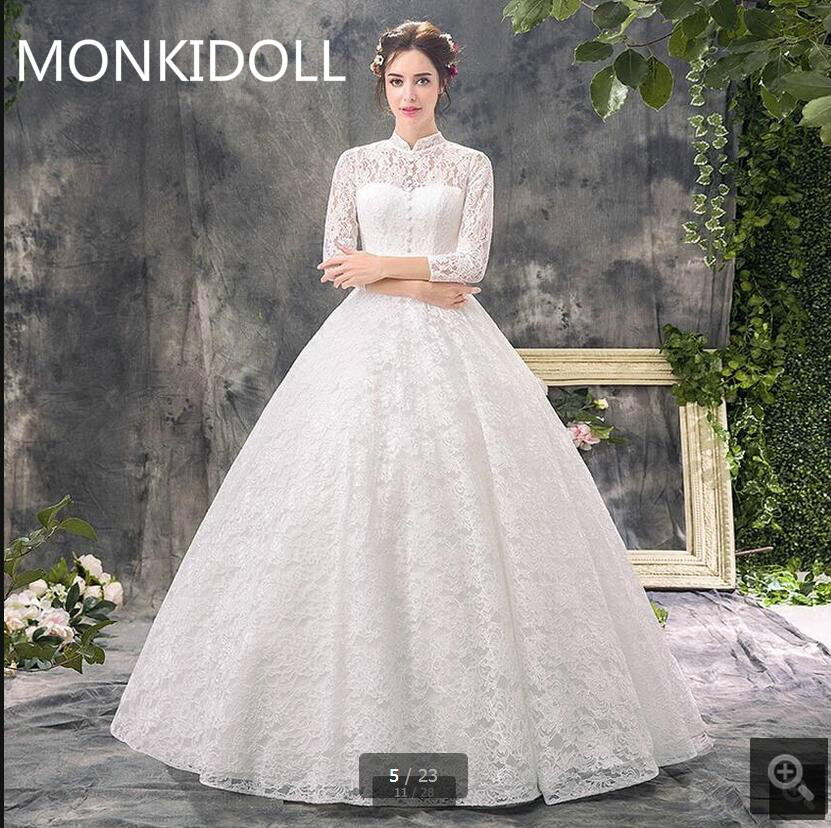 Free Shipping Ball Gown White Lace Gorgeous Wedding Dress High Neckline 3/4 Sleeve Hollow Back Sexy Bride Dress Best Selling