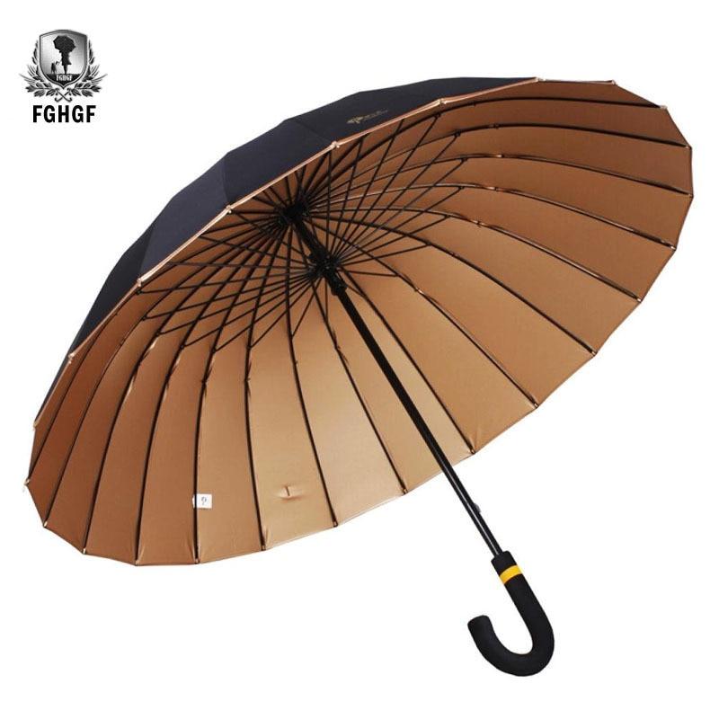 FGHGF High Quality 24K Rib Windproof Long Bent Handle Sun Rain Stick Large Men Gentleman Umbrella Gold UV Manual Big Parasol