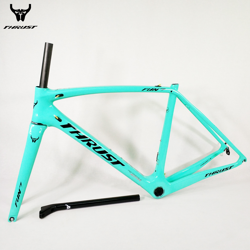 THRUST Carbon Road Frame 2018 Road Bicycle Frame XXS XS S M L Chinese Carbon Frame UD T1000 ID2 BSA BB30 PF30 Support Customize 2018 t800 full carbon road frame ud bb86 road frameset glossy di2 mechanical carbon frame fork seatpost xs s m l og evkin