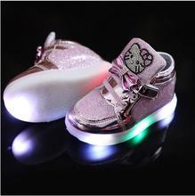 Новые дети освещенные casual shoes высокого горный хрусталь hello kitty shoes для девочек baby дети shoes mesh travel shoes девушки сапоги