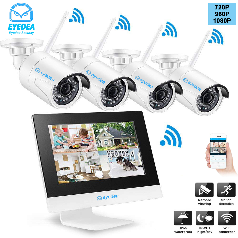 4CH 960P WIFI NVR with LCD Monitor Wireless Security Camera System with 4 Waterproof Outdoor Video Surveillance IP Camera Kit