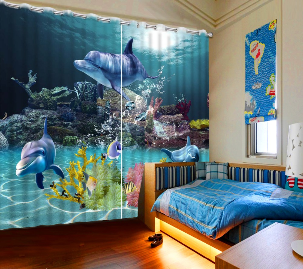 Kids modern bedroom curtains - 3d Curtains Blackout Modern Fashion 3d Curtains For Bedroom Photo Printed Understand World Dolphins For Kids Curtains