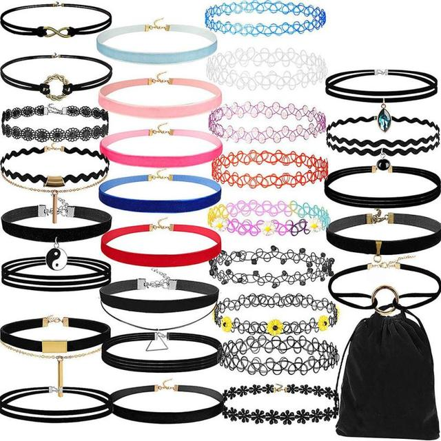 30 Pieces Choker Necklace Set Stretch Velvet Classic Gothic Tattoo Lace Choker D