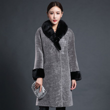 Newest Winter Women Faux Wool Coat Long Full Sleeve Double Breasted Flare Sleeve Full Pelt Faux Fur Outerwear XHSD-189