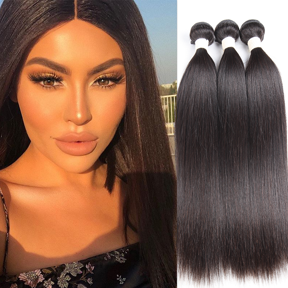 Sleek Hair-Weave Human-Hair-Bundles 8-To-28inch-Extension Straight Peruvian Can Or Buy-3