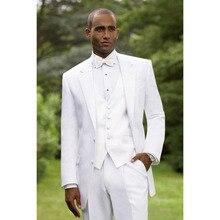 Custom Made Notch Lapel 3 pieces Tailcoat Groom mens suit Tuxedo 2017 White Men Wedding Suits terno masculino(Jacket+Pants+Vest)