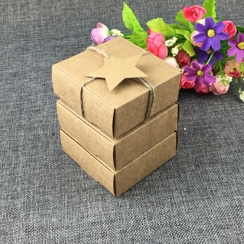 Fashion Jewelry Carrying Case With Pentagram Hang Tags Gift Boxes Blank Power 100PC Lot Kraft paper