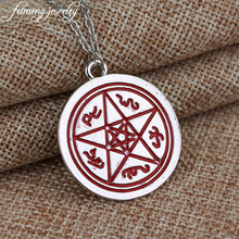 Supernatural Red Pentagram Necklace Devil's Trap Pentacle Protection Star Amulet Pendant Jewelry For Women And Men Gifts
