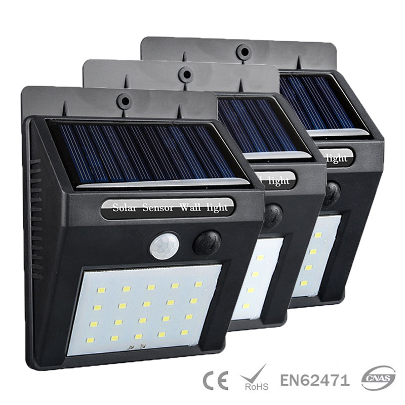 20 LED Solar Sensor Wall Light Waterproof IPX4 IP65 Eco-friendly Materials Power ...