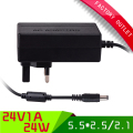 1PCS 24V1A AC 100V-240V Converter Adapter DC 24V 1A 1000mA Power Supply UK Plug 5.5mm x 2.1-2.5mm Free shipping