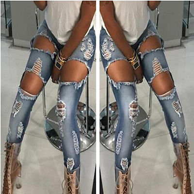 Women's Denim Skinny Ripped Pants High Waist Stretch Jeans Slim Pencil Trousers 2016 hole jeans free shipping woman distressed true denim skinny jean pencil pants trousers ripped jeans for women 031