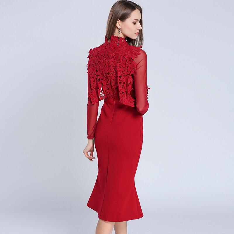 Lace Dress Autumn Women Long Sleeve Elegant Wrap Casual Party Dresses Office Red Midi Robe Femme Fall Vestidos Verano 2018
