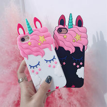 3D Cartoon Luxury Pink Unicorn Horse Soft Silicon Case For iPhone 6 Coque For iPhone X XR XS Max 5 5S SE X 6 6S 7 8 Plus Cover(China)