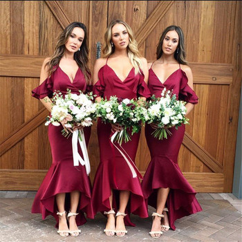 New 2019 Mermaid Burgundy Long Bridesmaid Dresses Halter Backless High Quality Satin Wedding Party Gowns Cheap Women Prom Dress