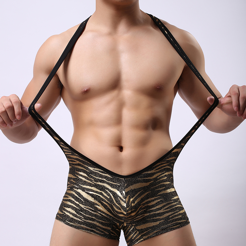 c324b9a4df JJSOX Brand Man Leopard Underwear Male Sexy Nylon Suspenders Pouch Long  Boxers Shorts Gay Seamless Large Trunks