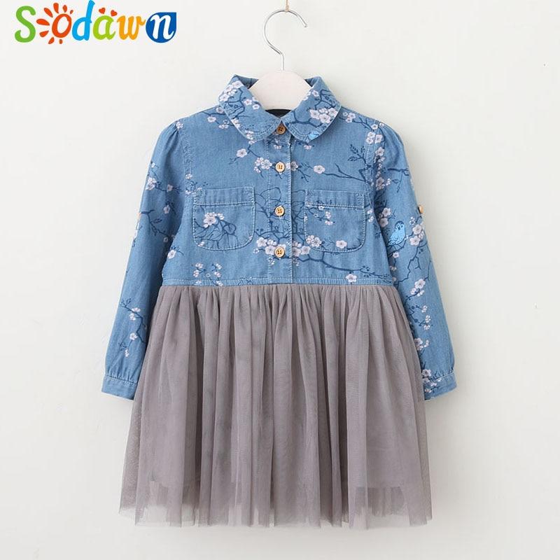 Sodawn 2018 Girls Clothes Lapel Flower Printing Long-Sleeved Splicing Mesh Yarn Princess Dress Spring New Childrens Clothing