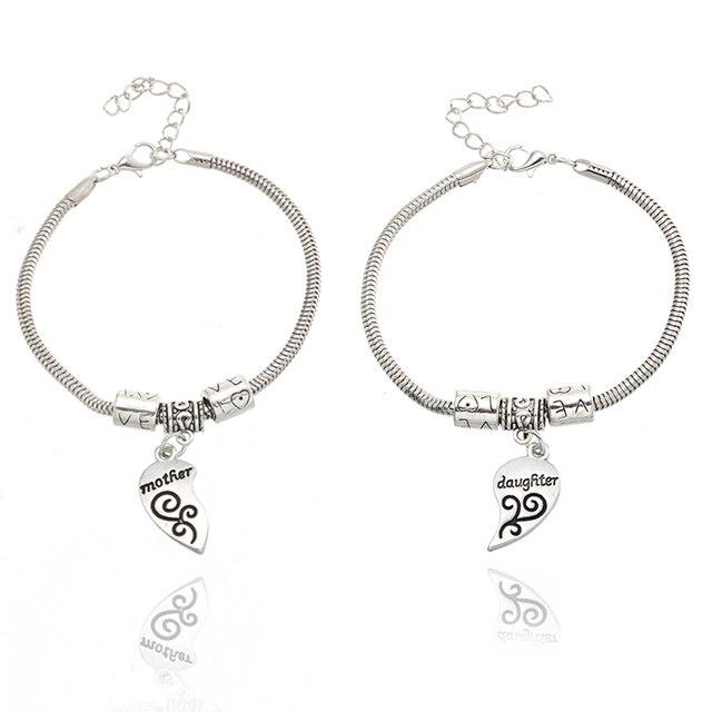 Trendy Charm Bracelets For Women Broken Love Heat Friendship Mother Daughter Silver Bracelet Boho Jewelry