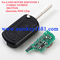 Brand New Uncut Folding Flip Remote key Fob 433MHz 315mhz with electronic ID46 Chip Fit for Land Rover Discovery 3