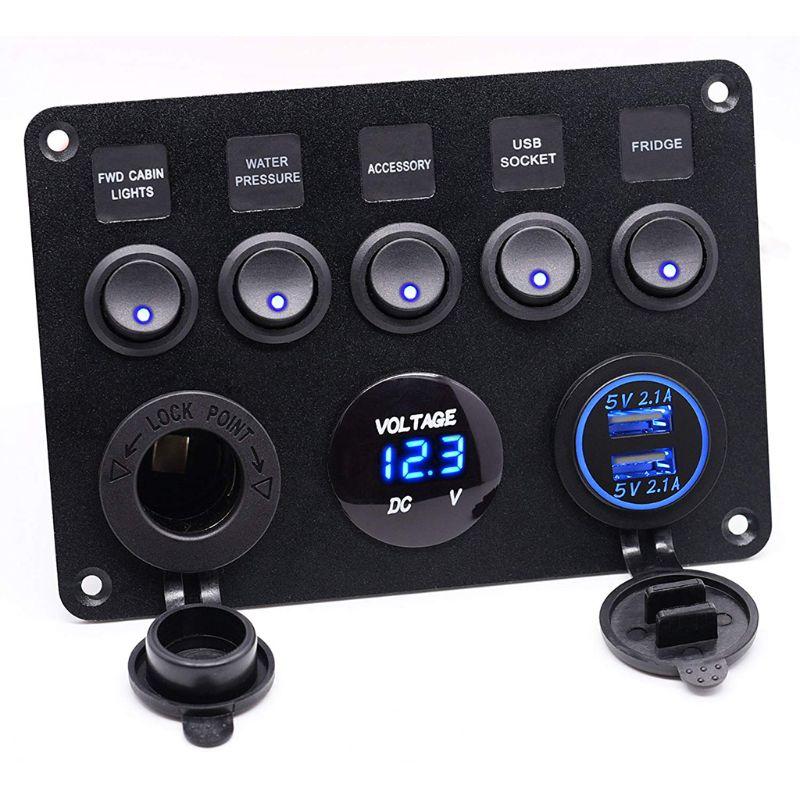 12-24V 고양이 눈 스위치 조합 패널 퓨즈 박스 보호 전압계 전원 소켓 듀얼 USB 차량용 충전기