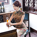 The Restoring Qipao Dress New Silk Double-layer Slim Long Cheongsam With Printing Flowers With Plus Size 3XL