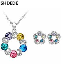 SHDEDE Elegante Conjuntos de Jóias Para As Mulheres a partir de Cristal Swarovski  Brincos Colar Pingentes Acessórios de Alta Qua. 643d0f1ac0