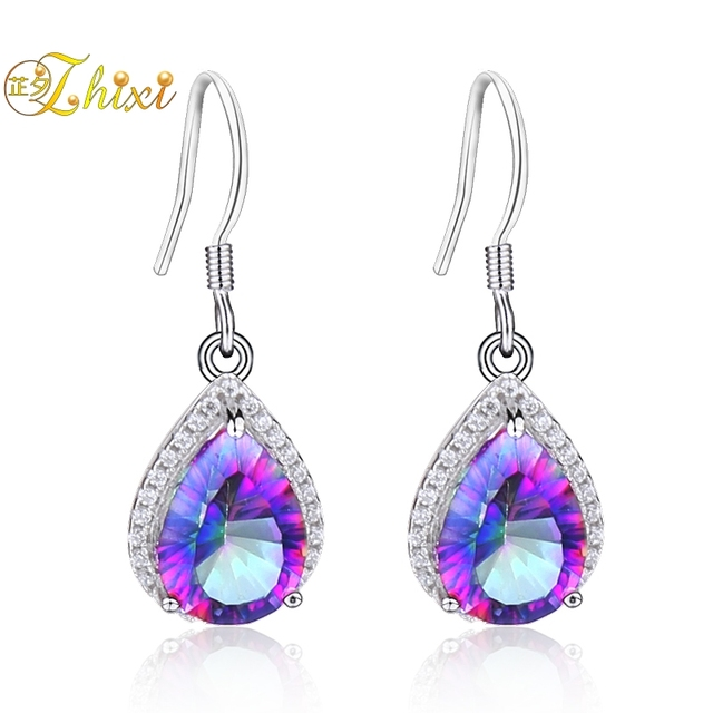 carat mystic multi products silver cubic topaz pair sterling color zirconia studs earrings