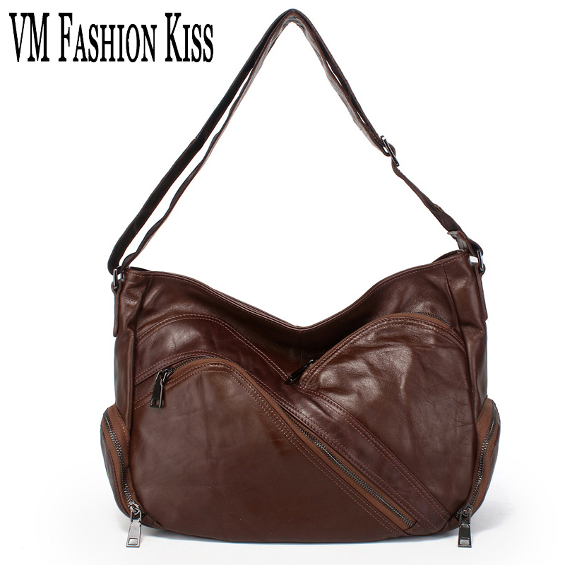 Фотография VM FASHION KISS genuine leather large capacity multi-pocket women handbags crossbody Messenger bags shoulder bag sac femme