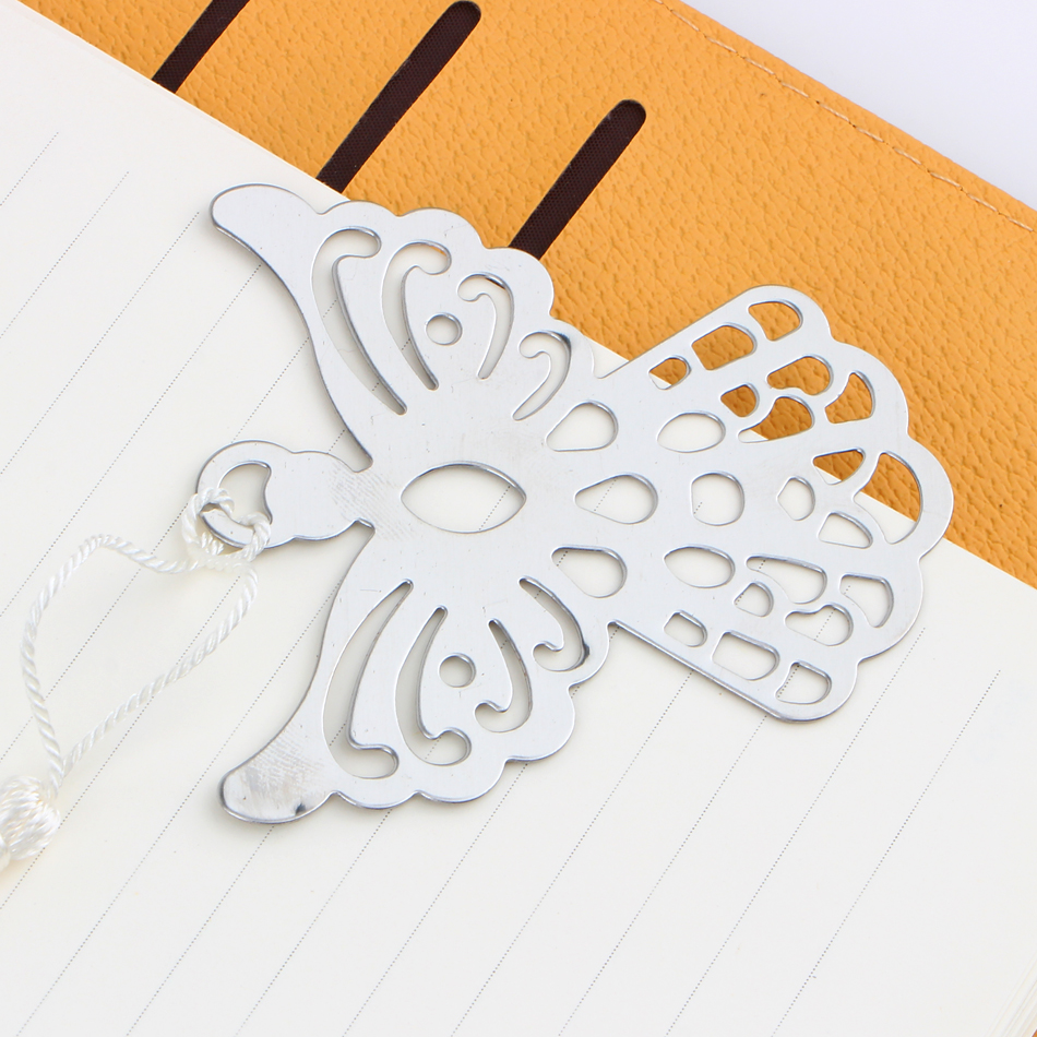 Creative Stainless Steel Angel Bookmarks With Tassel Document Book Mark Label DIY Fit For Gift School Office