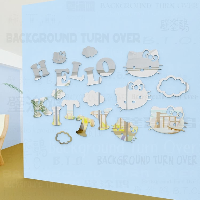 cc3d78a76 Big Size Super cute cartoon decorative letters Hello Kitty wall sticker for kids  rooms nursery girls bedroom decor