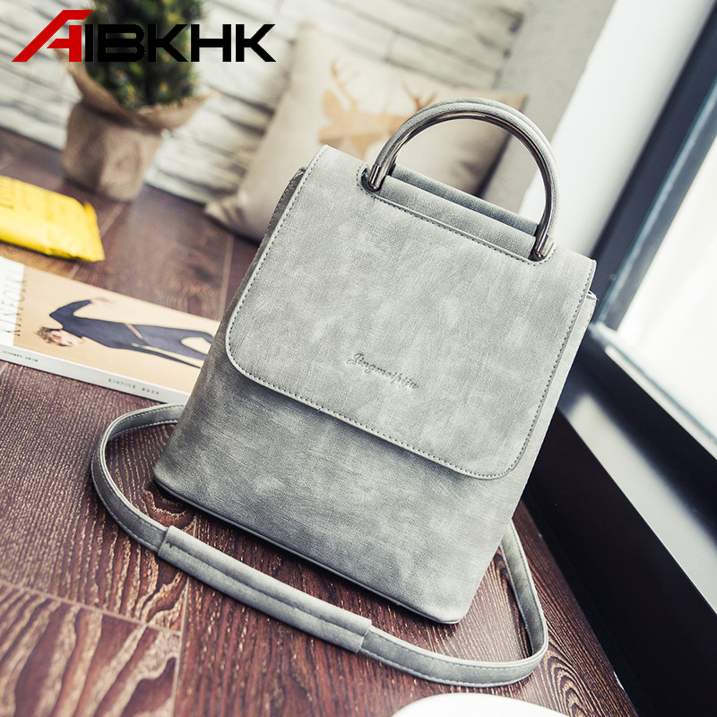 AIBKHK 2018 Trendy Fashion Women Backpack High Quality PU Leather Press Buckle Waterproof Bagpack Hard Handle Multifunction Bags