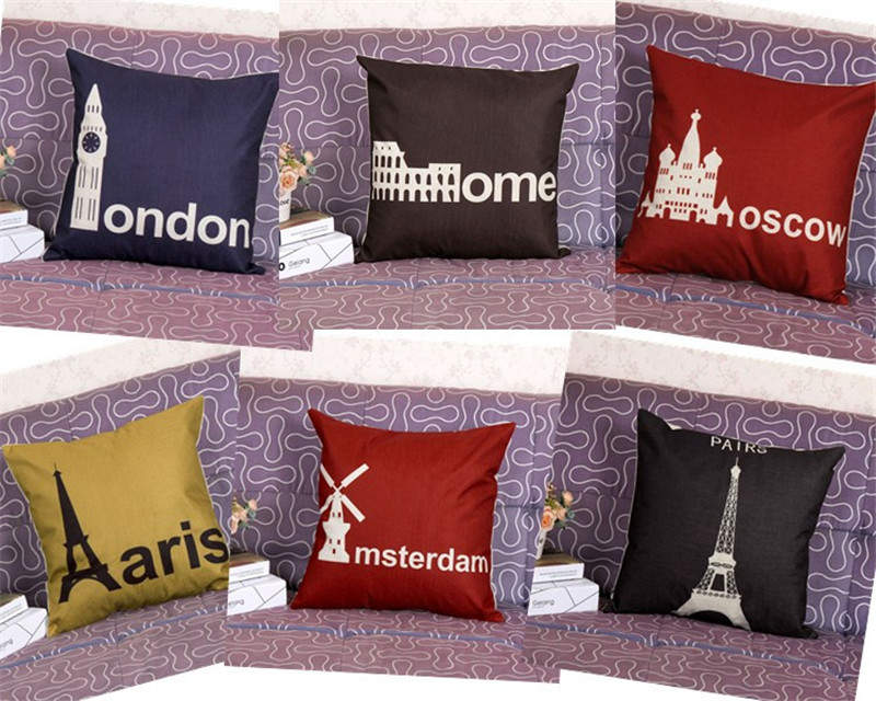 45x45cm 80g <font><b>London</b></font> Pairs Classic Vintage Cushion Covers <font><b>Black</b></font> And Red Moscow Cushion Cover Linen Decorative Throw Pillow Covers