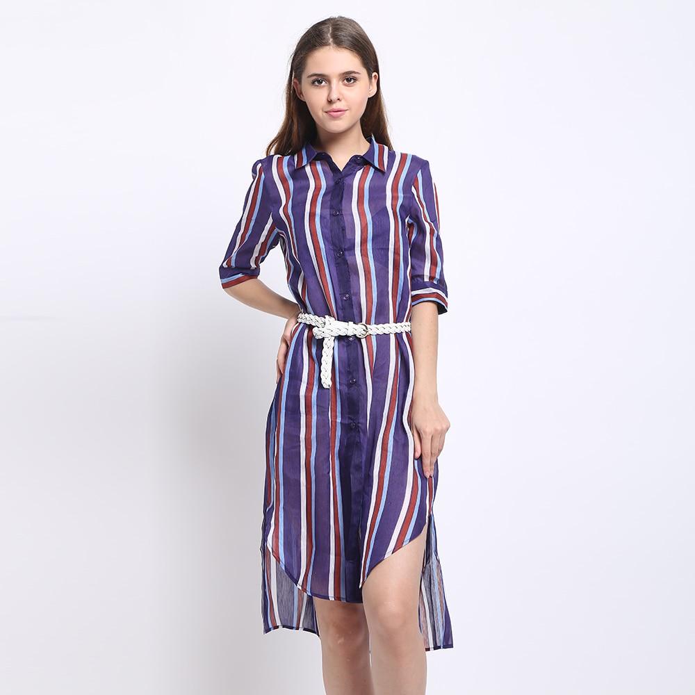 Silk Linen Long Shirt Women Casual Desigual Stripe Shirts Summer Style Printed Pattern With Leather Belt