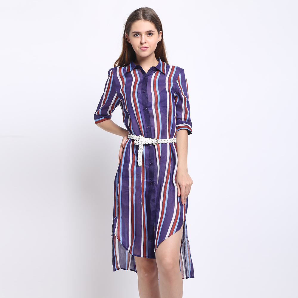 Silk Linen Long Shirt Women Casual Desigual Stripe Shirts Summer Style Printed Pattern With Leather Belt Plus Size Free Shipping