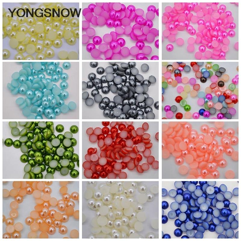 300pcs 6mm Flatback Beads Half Round Pearl Craft ABS Imitation Resin Scrapbook Beads DIY Nail Art Decoration Jewelry Accessories craft
