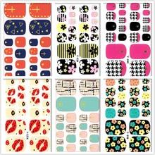 Fashion Auto Sticker Metal Toe Nail Art Foil Stickers Flower Lip Cross designs Manicure Adhesive Decal Wraps