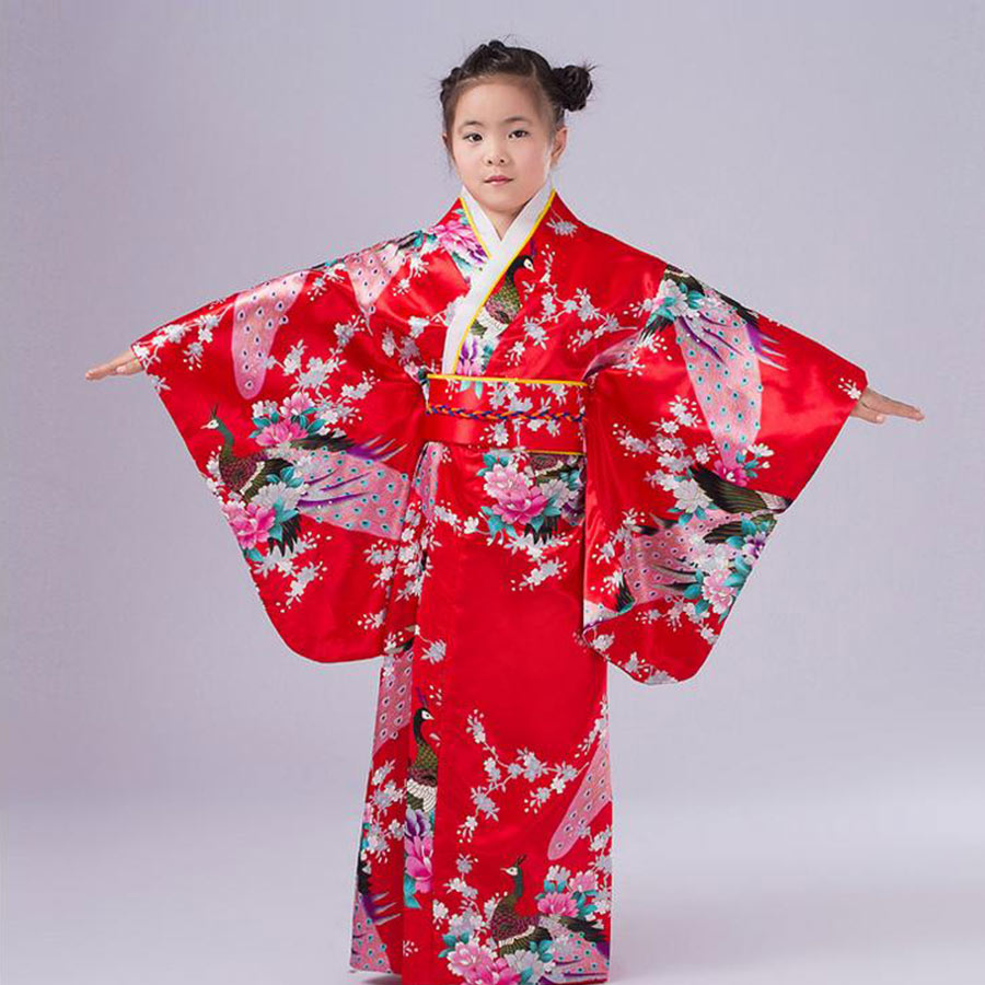 Children Yukata obi Vintage Japanese gril's Kimono kids Yukata Haori Dress traditional japanese Kimono kids Yukata obi