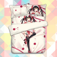Anime Cartoon Date A Live Tokisaki Kurumi Quilt Cover Soft Printed Bedding Set With Pillow Cases Bed Sheet Duvet Cover CP151206