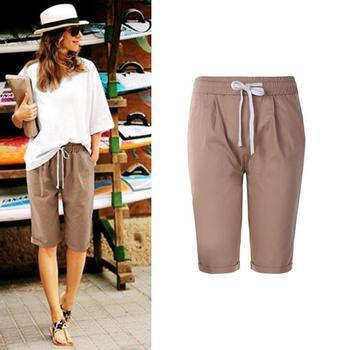 12a8530dff Mujeres pantalones de pierna ancha de lino del algodón del verano del  resorte alta cintura elástica suelta sólido damas Pantalones Casual media  delgada ...