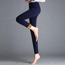 Winter Europe US Women Warm Leggings Skinny Slim Fleece Thick Velvet Pants High Waist Elastic Lady Red Blue Casual Long Trousers