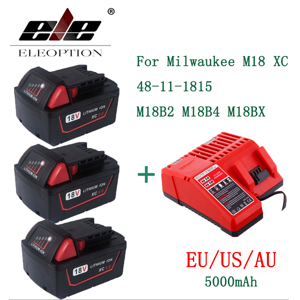 ELE ELEOPTION 3PCS 5000mAh 18V Li-Ion Replacement Battery for Milwaukee M18 XC 48-11-1815 M18B2 M18B4 M18BX M18BX With Charger