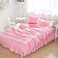 Cotton Princess four piece lady lace bedding cotton four piece solid color wide lace edge cotton four