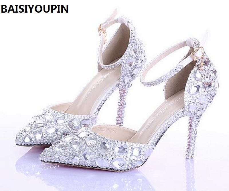 2017 Summer High Heels Women Wedding Shoes White Two Pieces Hollow Diamond Bride Shoes Crystal Wristband