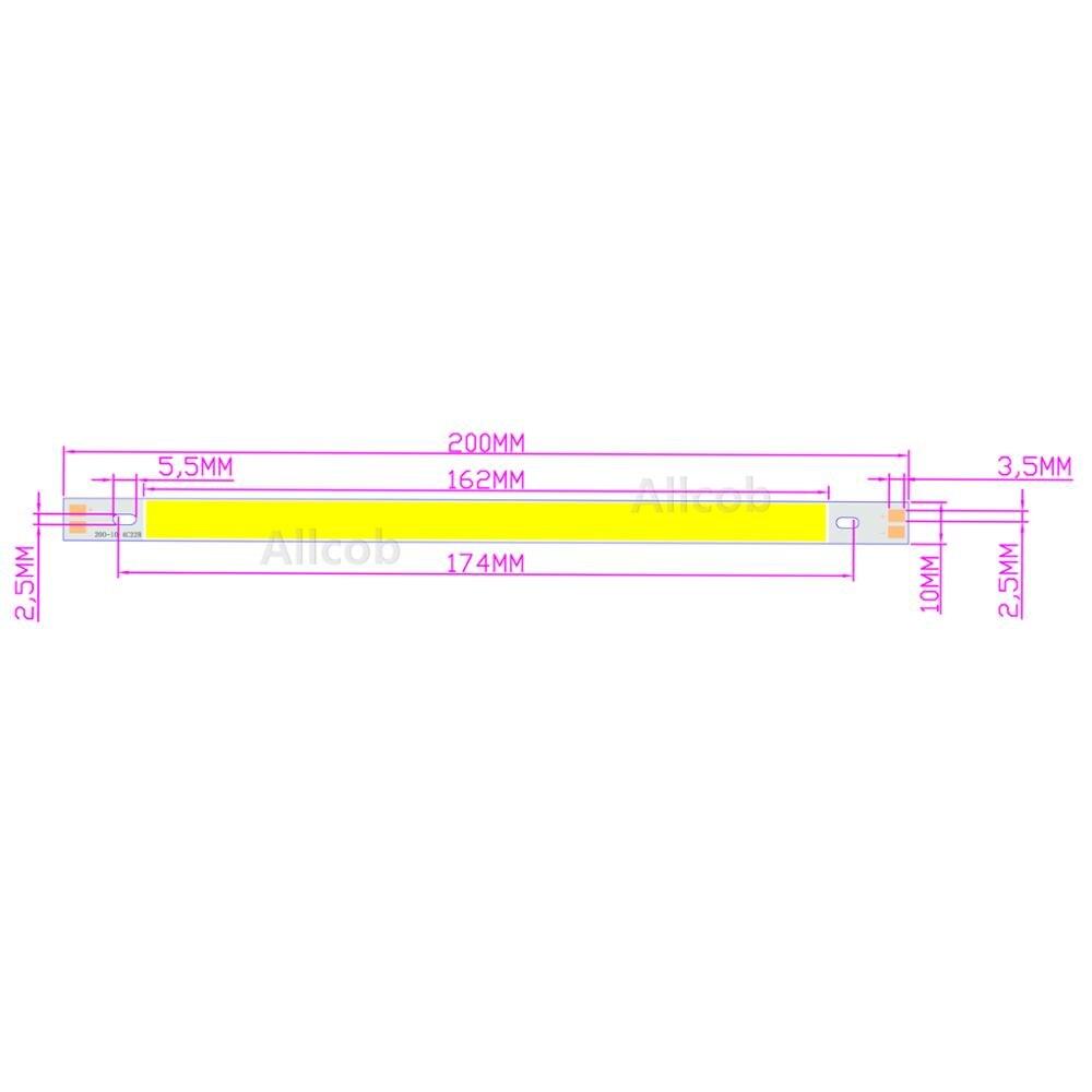 [ALLCOB] LED COB 200*10mm 12v 10W Warm Nature White Blue Red Green Yellow For Car Light DIY Cob Led Strip Bar BULB Light Source
