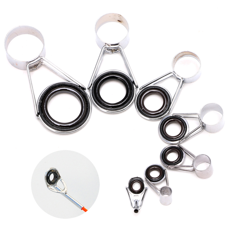 7Pcs Mixed size Telescopic Fishing Rod Guides Top Ring Set Raft Fishing Repair Accessories