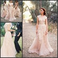 Hot Sale Blush Pink Wedding Gowns V-neck Cap Sleeves Tulle with Lace Applique Vintage Bridal Wedding Dresses Champagne