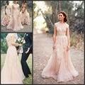Venda quente Blush Rosa Vestidos de Casamento Com Decote Em V Cap Mangas Tulle com Lace Applique Champagne Vestidos De Noiva Do Casamento Do Vintage