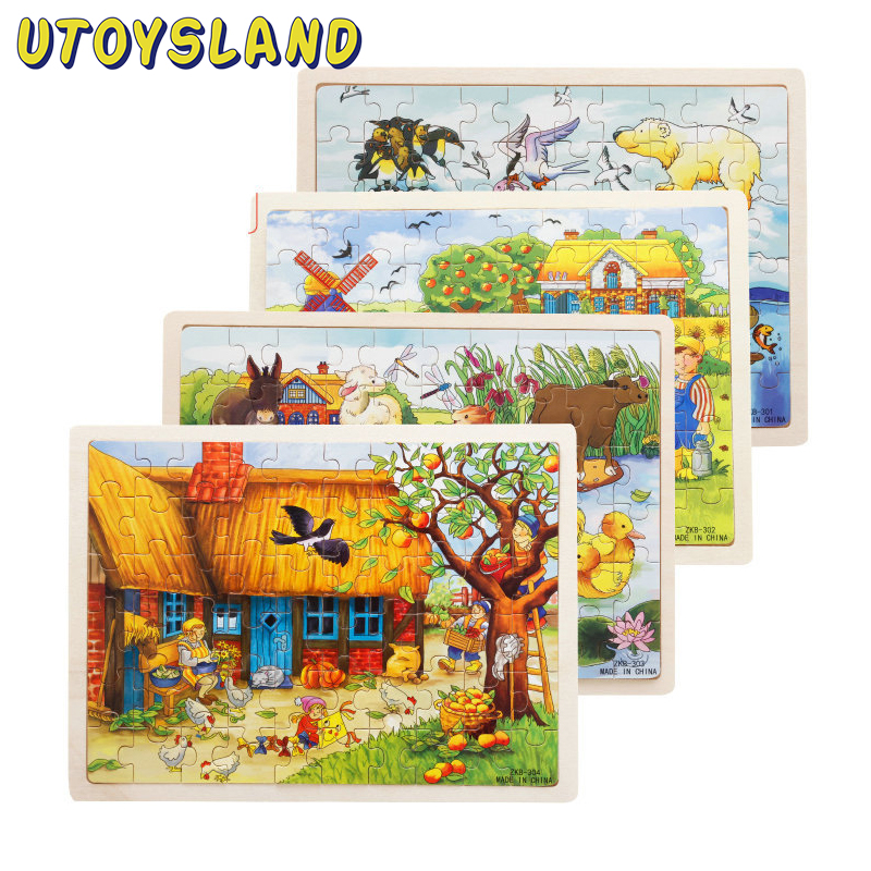 UTOYSLAND 60 Pieces Wooden Jigsaw Puzzle Apple Tree Farm Animals Baby Kids Educational Toys for Children  mylb educational farm jungle animal wooden magnetic puzzle toys for children kids jigsaw baby s drawing easel board