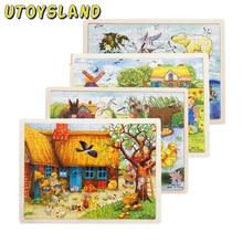 UTOYSLAND 60 Potongan Kayu Jigsaw Puzzle Apple Tree Farm Animals Bayi Anak-anak Mainan Pendidikan untuk Anak-anak